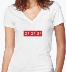 Sup reme 21 Savage Women's Fitted V-Neck T-Shirt