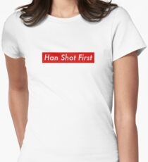 Supr eme Han Shot First Bogo Womens Fitted T-Shirt