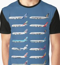 Airbus A380 Operators Illustration - Blue Version Graphic T-Shirt