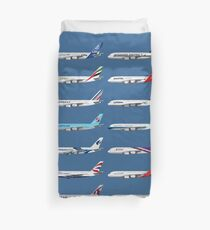 Airbus A380 Operators Illustration - Blue Version Duvet Cover