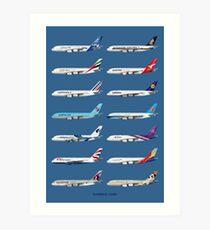 Airbus A380 Operators Illustration - Blue Version Art Print