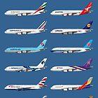 Airbus A380 Operators Illustration - Blue Version by © Steve H Clark