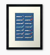 Airbus A380 Operators Illustration - Blue Version Framed Print
