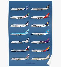 Airbus A380 Operators Illustration - Blue Version Poster