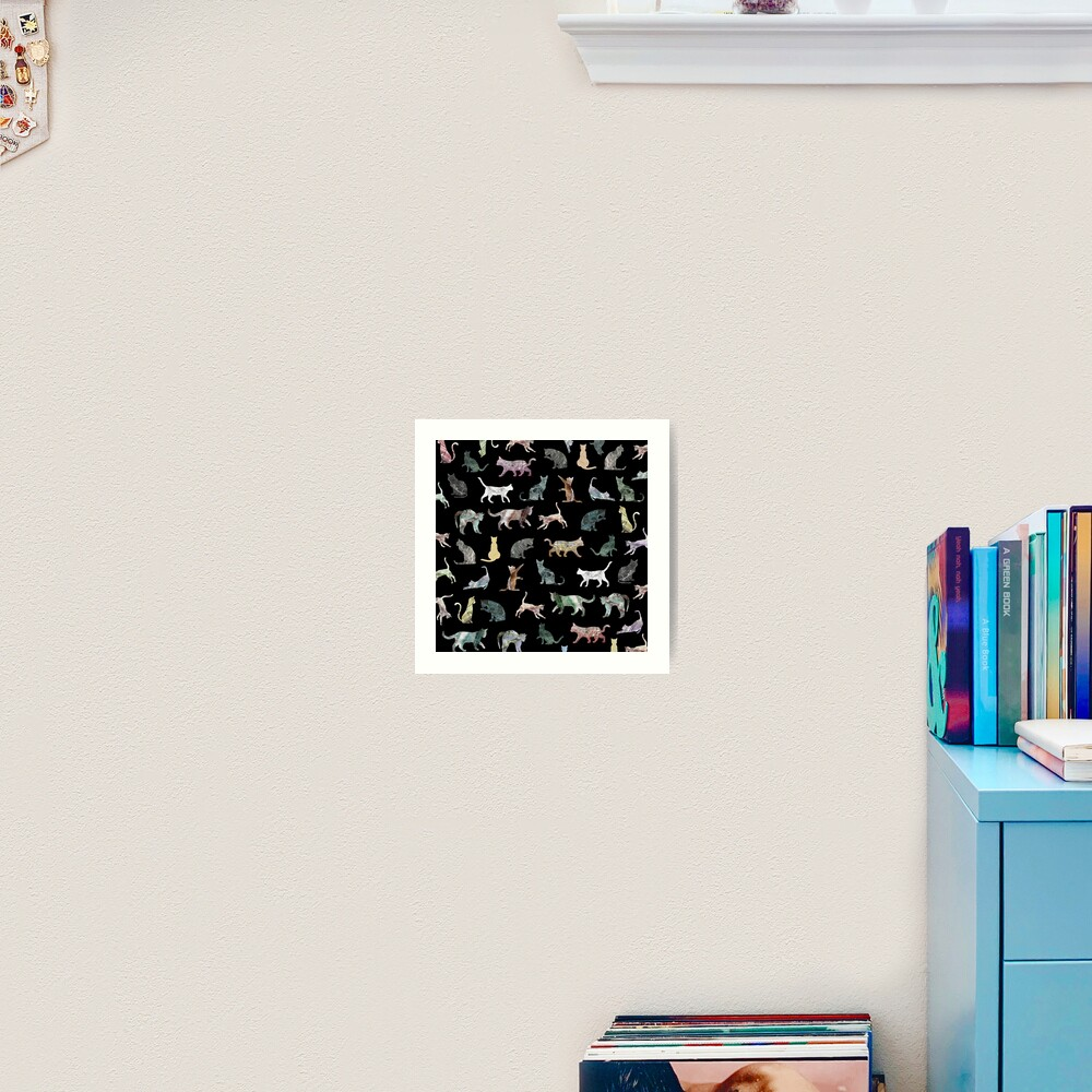 Cats shaped Marble - Black Art Print