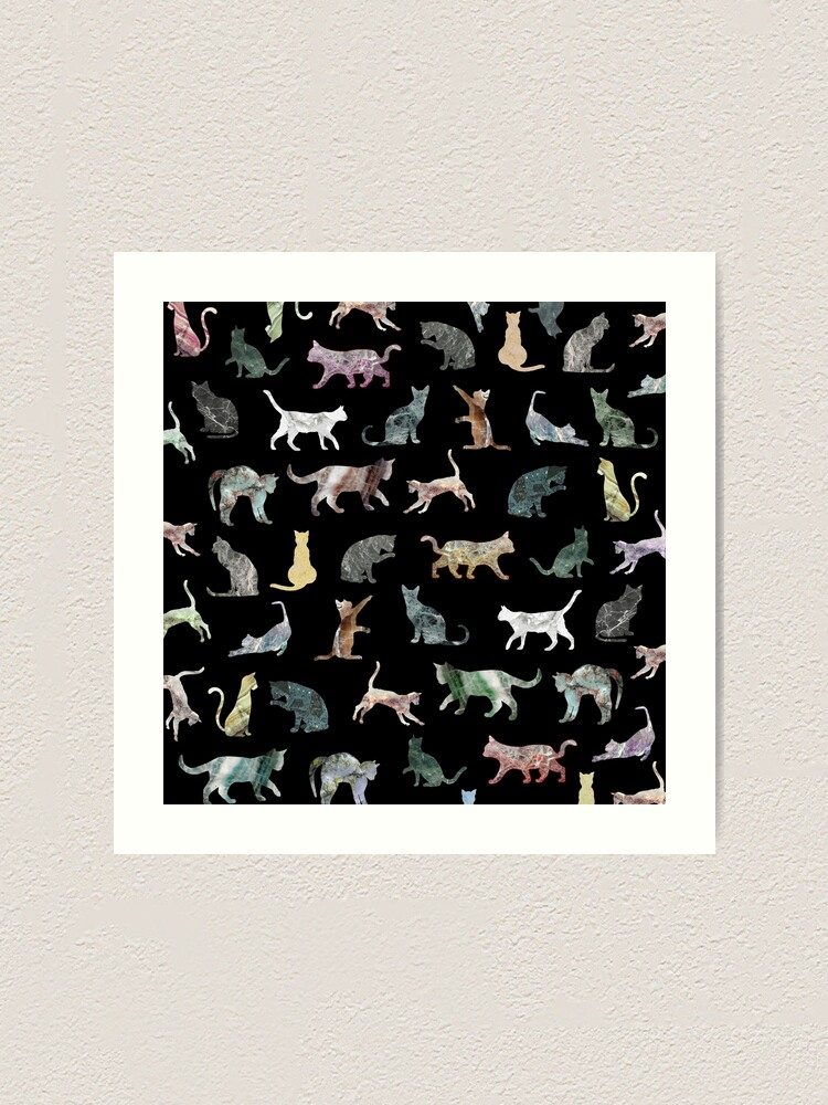 Alternate view of Cats shaped Marble - Black Art Print