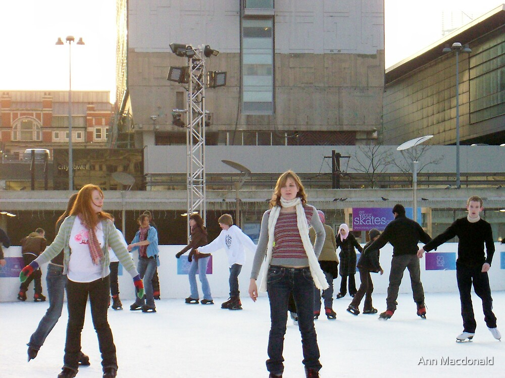 ice skaters 2 by Ann Macdonald