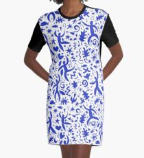 Cuban Salsa - blue on white - contemporary dance pattern by Cecca Designs Graphic T-Shirt Dress