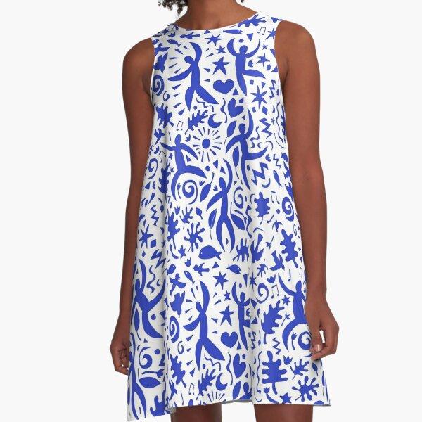 Kubanische Salsa - blau auf weiß - zeitgenössisches Tanzmuster von Cecca Designs A-Linien Kleid