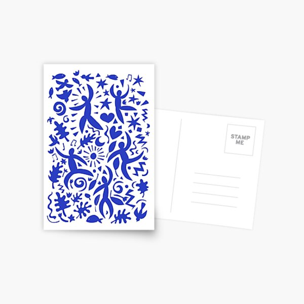 Cuban Salsa - blue on white - contemporary dance pattern by Cecca Designs Postcard