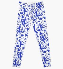 Cuban Salsa - blue on white - contemporary dance pattern by Cecca Designs Leggings