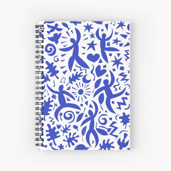 Cuban Salsa - blue on white - contemporary dance pattern by Cecca Designs Spiral Notebook