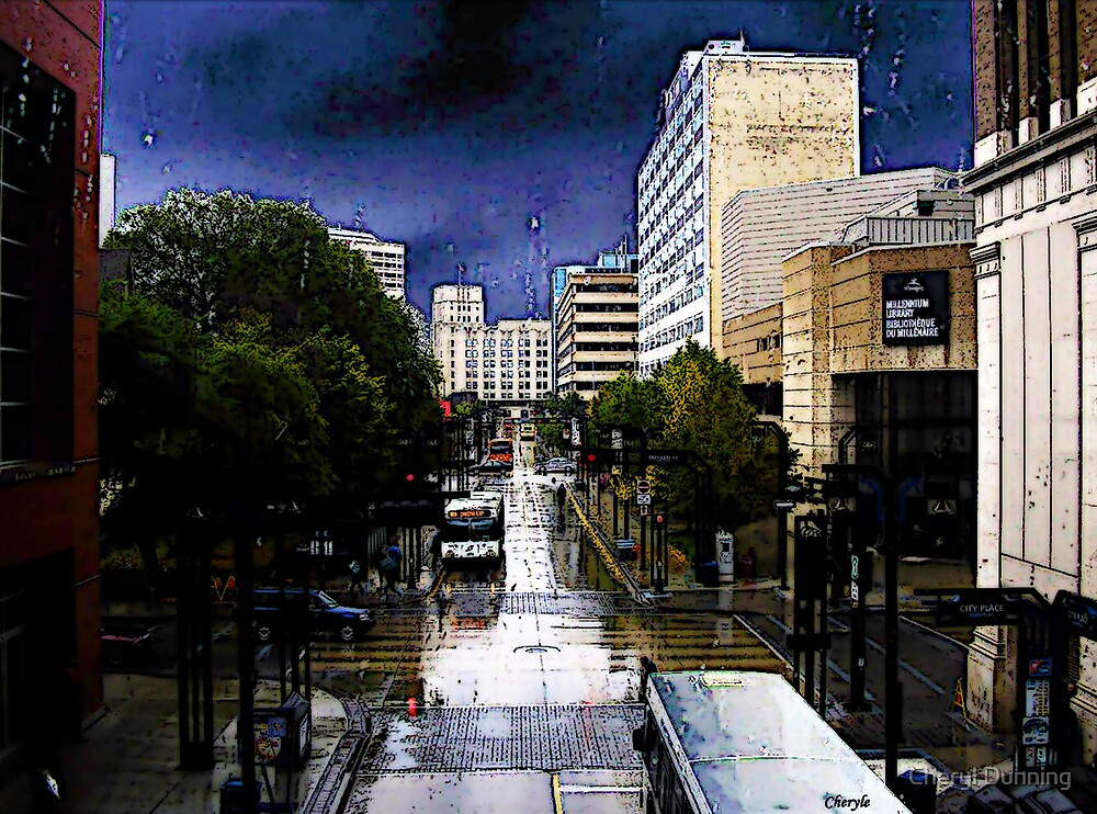 an illustrated rainy day view of winnipeg by Cheryl Dunning