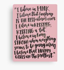 Audrey Hepburn Pink Quote Canvas Print