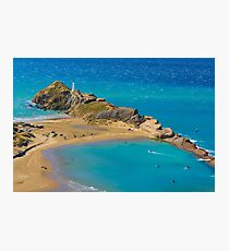 White lighthouse, location - Castlepoint, New Zealand Photographic Print