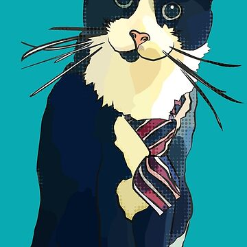Business Boo - black & white cat wearing tie by BeeFoxTree