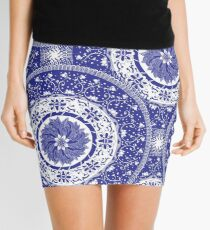 Blue and White Mandala  Mini Skirt