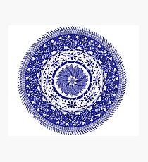 Blue and White Mandala  Photographic Print