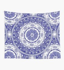 Blue and White Mandala  Wall Tapestry