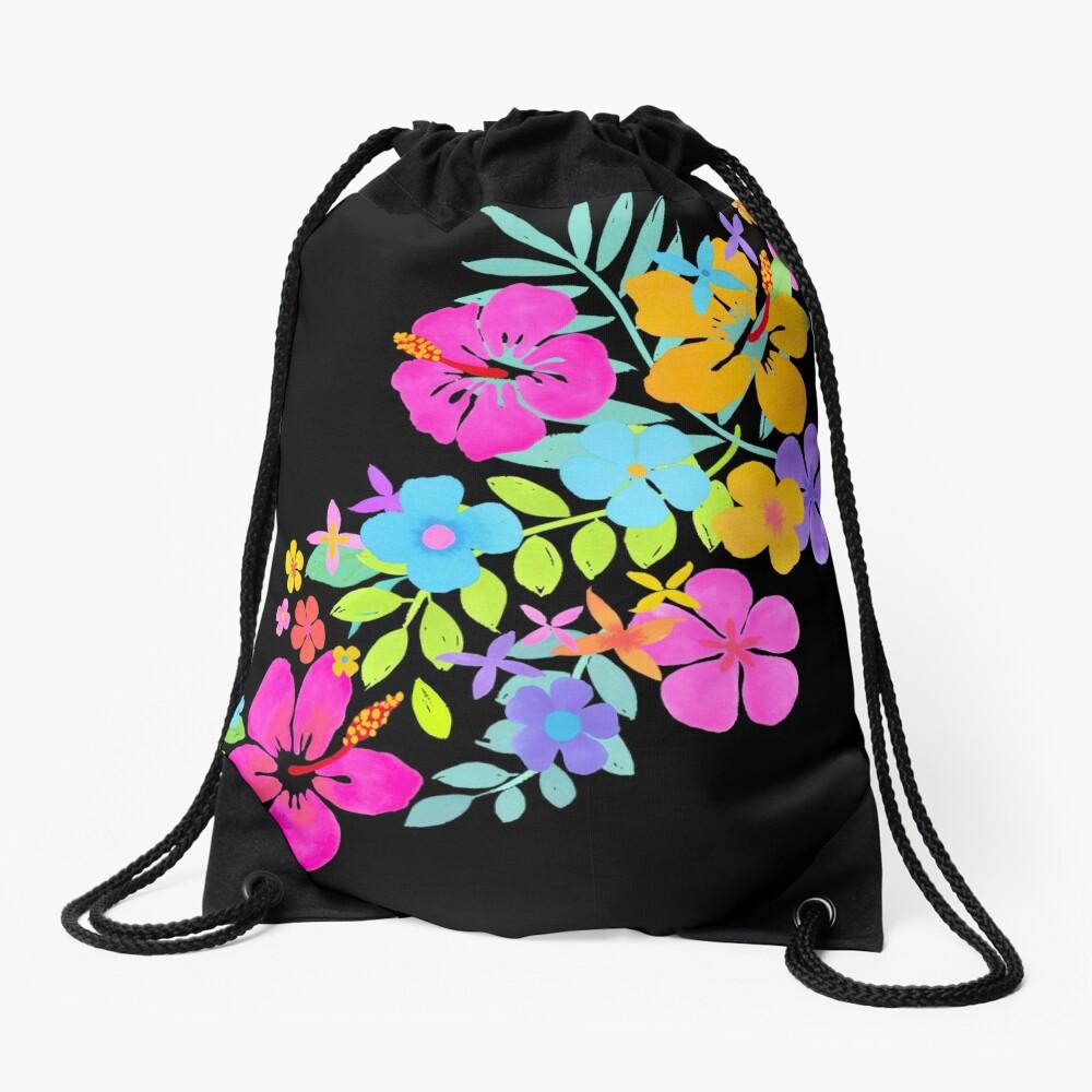 Tropische Aquarell Blumen Turnbeutel