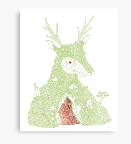 Stag at the Heart of the Mountain Metal Print