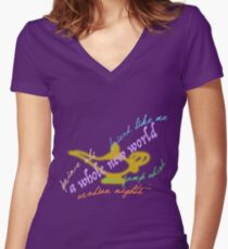 Aladdin songs Women's Fitted V-Neck T-Shirt