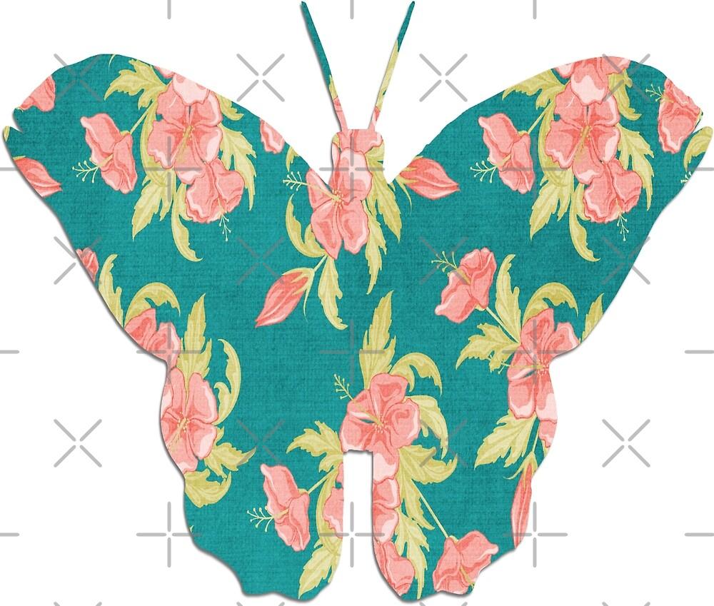 Schmetterling mit Blumenmuster von KirstenJRenfroe