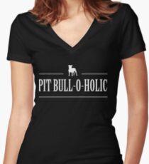 Pit Bull-O-Holic Women's Fitted V-Neck T-Shirt