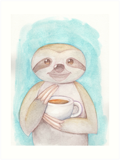 Sloth Drinking Coffee by dreampigment