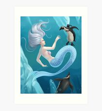 Mermaid and Penguins Art Print