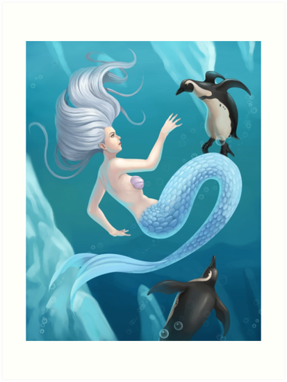 Mermaid and Penguins by dreampigment