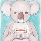 Koala Drinking Coffee by dreampigment