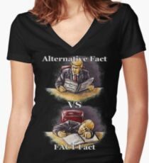 Trump : Alternative Fact VS FACT fact; funny/satirical/political hand-drawn illustration  Women's Fitted V-Neck T-Shirt