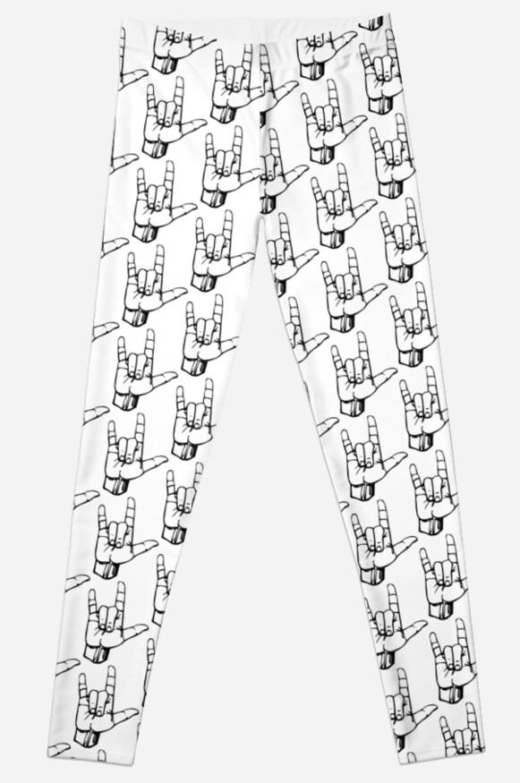 Hand I Love You Ily Sign Language Symbol Gesture Leggings By