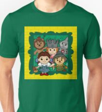 """Wizard of Oz"" Kawaii, Yellow, Brick, Road, Emerald, Green, Dorothy, Ruby, Slippers, Toto, Cowardly Lion, Scarecrow, Tin Man, Basket, Purse, Gingham, Blue, Splatter, Paint  Unisex T-Shirt"