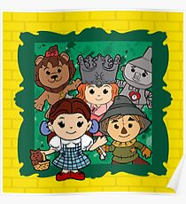 """""""Wizard of Oz"""" Kawaii, Yellow, Brick, Road, Emerald, Green, Dorothy, Ruby, Slippers, Toto, Cowardly Lion, Scarecrow, Tin Man, Basket, Purse, Gingham, Blue, Splatter, Paint  Poster"""