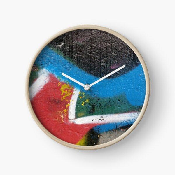 graffiti splatter - bright colour triptych Clock