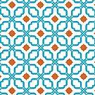 Bleu Orange Tiles by Chromapit Designs