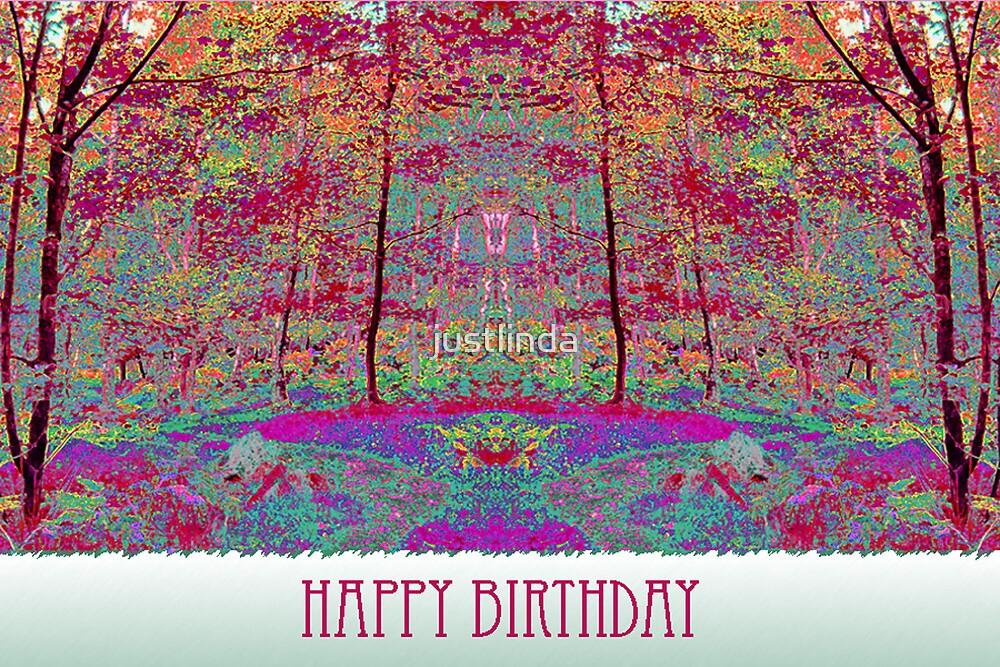 (Birthday Card 3) - Pink Woods - by justlinda
