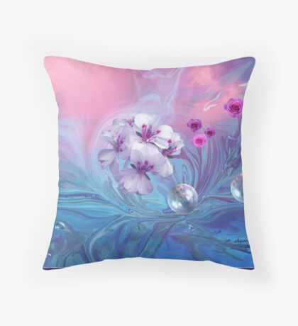 Do Bubbles and Flowers Go Together, Dedicated to Shar-Autumnwind Throw Pillow