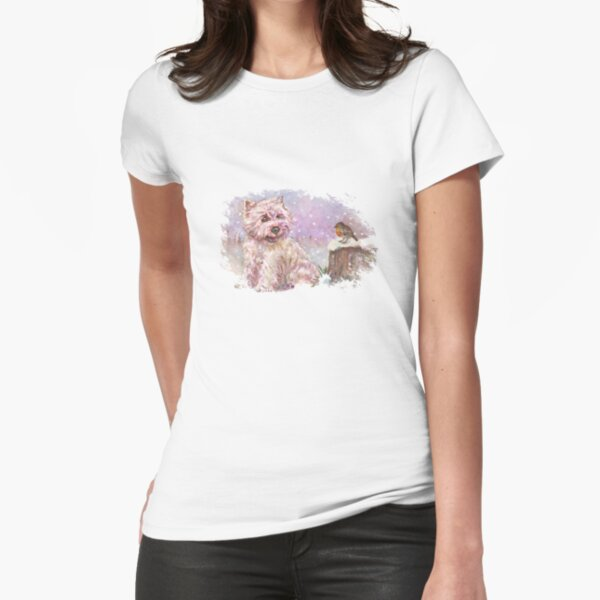 Westie meets Robin in the Snow Fitted T-Shirt