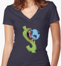Greedy Dollar - Funny Anti Capitalism Political Cartoon Women's Fitted V-Neck T-Shirt