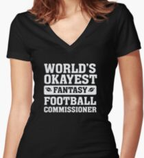 World's Okayest Fantasy Football Commissioner Funny Women's Fitted V-Neck T-Shirt