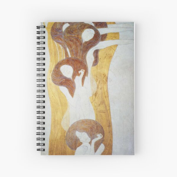 Gustav Klimt - The Beethoven Frieze The Longing For Happiness Finds Repose In Poetry Right Wall Spiral Notebook