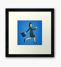 Business Woman. Happy Woman. Woman with Suitcase. Pop Art Banner. Successful Woman Framed Print