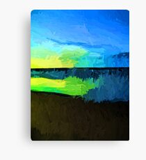Yellow and Green Sun on the Blue Sea Canvas Print