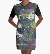 Gustav Klimt - Houses At Unterach On The Attersee Graphic T-Shirt Dress