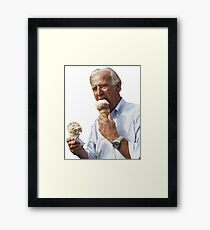 Joe Biden Eating Ice Cream Framed Print