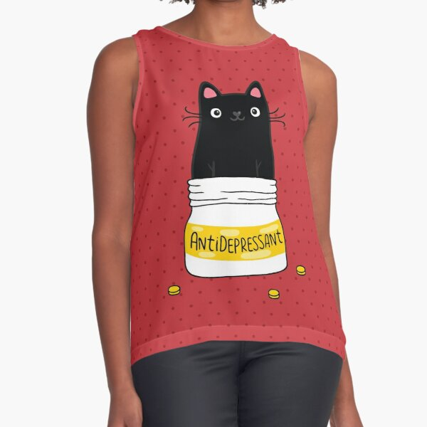 FUR ANTIDEPRESSANT . Cute black cat illustration. A gift for a pet lover. Sleeveless Top