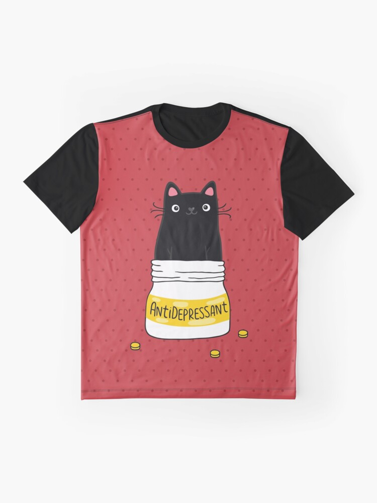 Alternate view of FUR ANTIDEPRESSANT . Cute black cat illustration. A gift for a pet lover. Graphic T-Shirt